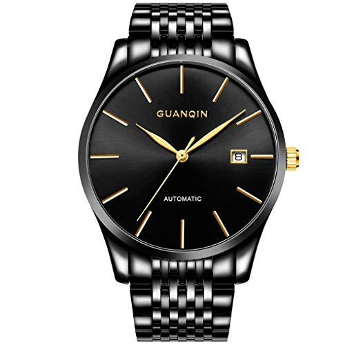 AXNYLHY Herrenuhr wasserdichte mechanische Uhr Uhr Minimalist Quarz-Armbanduhr Ultra Thin mit Datumsanzeige, Schwarz,Black - Jahrhunderts Formel