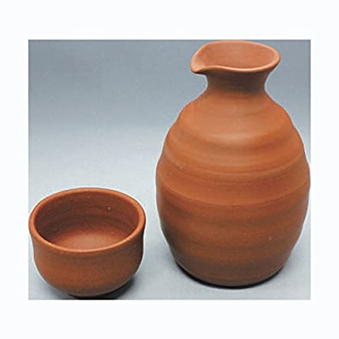 TOKYO MATCHA SELECTION - Sake Bottle & 2 Cup Set - Kenji - Shudei Red Clay - Japanese Tokoname-yaki pottery ceramic [Standard ship by Int'l e-packet: with Tracking & Insurance]