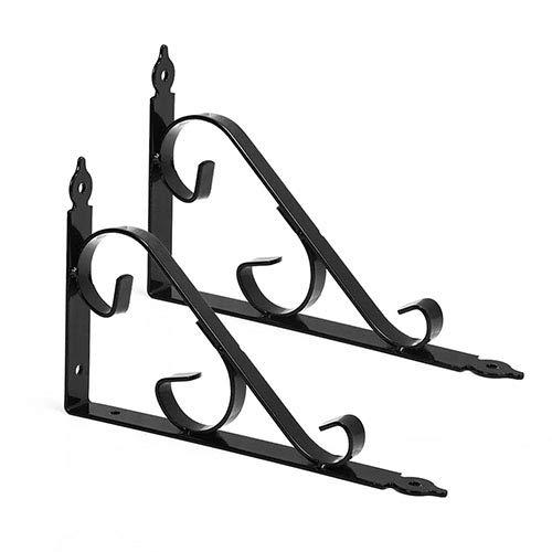 GoYonder schwarz metall regal klammern wandhängende 250mm * 164mm ecke - regal unterstützt wall hanging für küche schlafzimmer mit hardware - schrauben, 2pcs