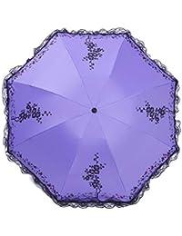 Paraguas de Encaje Compacto Paraguas de la señora Parasol Exterior Protección UV Paraguas de Viaje (