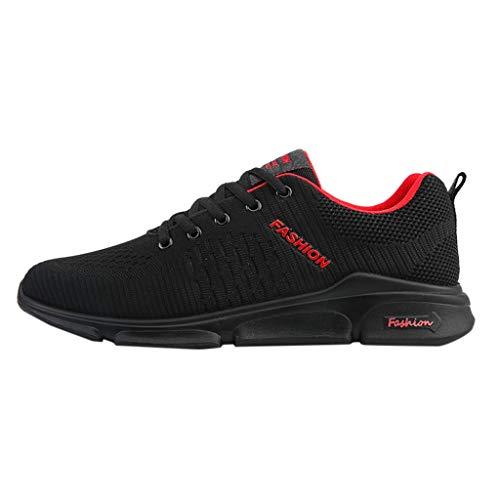Lilicat Uomo da Ginnastica Running Sports Sneaker Fitness Allacciare Maglia Sneakers Uomo Sport Scarpe Respirabile Mesh Corsa Leggero Casual All'Aperto Sneakers Traspiranti A Rete(Rosso,43 EU)