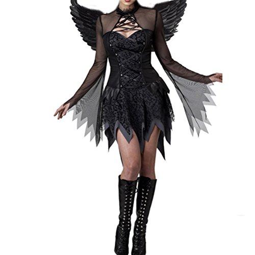 Nanxson (TM) Damen Dark Angel Teufel Kostüm für Erwachsene EXW0019 (Dark Angel Kostüme Mit Flügeln)