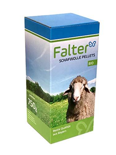 Falter Schafwolle Dünger - Pellets - Hochwertiger Biodünger aus ungewaschener Schafwolle Langzeitwirkung und Quellwirkung für Gartenpflege - Schafwolle Pellets - Qualitätsprodukt aus Bayern - 750g