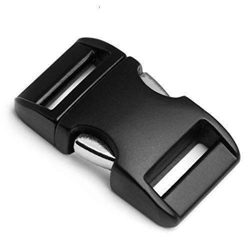 """Metall-Klickverschluss Alumaxx,2er Set, 1\"""" / Klippverschluss/Steckschließer / Steckverschluss für Paracord-Armbänder, Hunde-Halsbänder, Rucksack, Oberfläche pulverbeschichtet, Farbe: schwarz matt"""