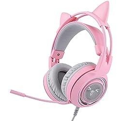 Mjb Headset Gaming Headset Live Mädchen Nette Katze Ohren Pulver Kristall 7.1 Kanal, Rosa