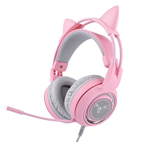 DWY Micro casques PC Casque Gaming Headset Live Girls Oreilles de Chat Mignonnes Powder Crystal 7.1 canaux, Ros