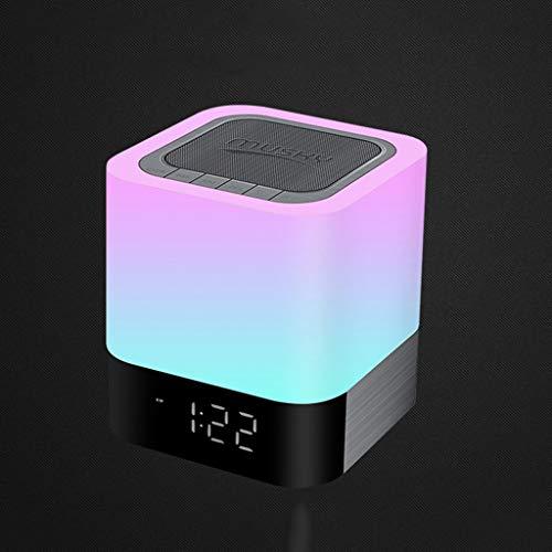 Mysida Drahtloser Bluetooth-Lautsprecher mit Touch-Control-Nachttischlampe, Digitaluhr, MP3-Player, tragbarer Smart-LED-Touch-Sensor-Tischlampe Dimmable RGB-Multi-Color-Nachtlicht, USB-Aufladung