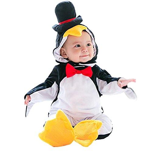 Kleidung Tier Modellierung Overall, Baby Halloween Tier Kostüm mit Kapuze Bodysuit Footies Strampler Onesie Outfit (90) (Pinguin Halloween Kostüme)