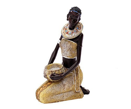 Brillibrum Afrikanische Dekofigur Frau Sitzend Deko Figur Afrika Skulptur Statue Massai Afrikanerin Groß Zulu Schale Mit Schüssel Krug Stehend Kniend 21 cm groß (Figur kniend)