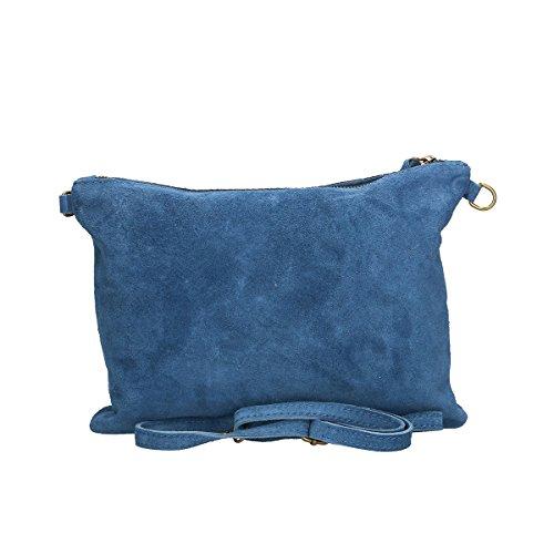 Chicca Borse Borsa a tracolla in pelle 30x22x2 100% Genuine Leather Blue