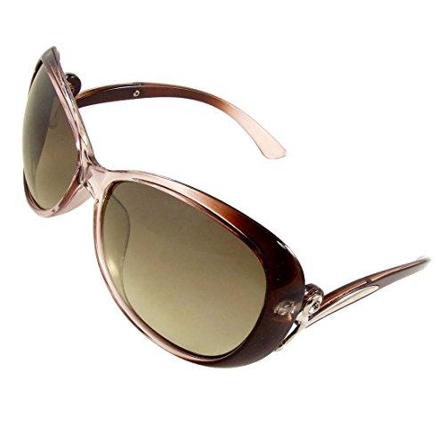 Frauen übergroße dunkle Objektiv-Silber-Ton-Dekor Arme Kunststoff umrandeten Sonnenbrille
