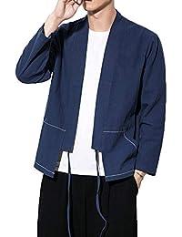 764fdfdfb84 Col Mao Veste Tai Chi Arts Martiaux Casual Blouson De Lin Style Chinois  Homme
