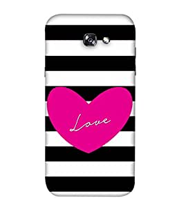 Samsung Galaxy A3 (2017), A320FL, A320F, A320F/DS, A320Y/DS, A320Y, Samsung Galaxy A3 (2017) Duos Back Cover Pink Heart With Black White Colour Image Background Design From FUSON