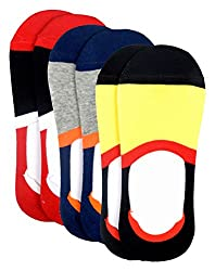 Color Fevrr Mens Cotton No Show Socks (Multi-Coloured, Set of 3, Invisible Socks)