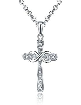 YL Schmuck Halskette Kreuz Anhänger 925 Sterlingsilber und Unendlichkeit Kreuz Anhänger für Herren Damen Frauen...