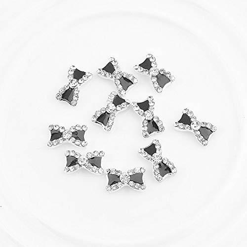 Pudincoco 10Pcs 3D Metal Rhinestone Bowknot Mujeres para Nail Art Supplies Gel Encantos para uñas Joyería Brillos Consejos Decoración Manicura Acrílico (Negro)