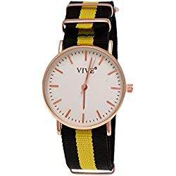 15Pure Time Unisex Textile Black Watch Yellow Rose Gold Super Flat + Watch Box
