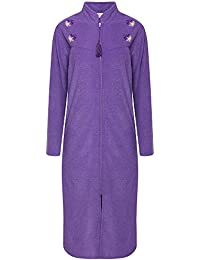 Storelines Ladies Embroidered Zip Front Dressing Gown. Navy Purple. Sizes S  10-12 7047b3afd