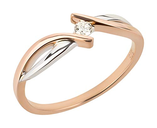 Ardeo Aurum Damenring aus 375 Gold bicolor Weißgold Rosegold mit 0,07 ct Diamant Brillant Verlobungsring (2 Karat Diamant Solitaire Ring)