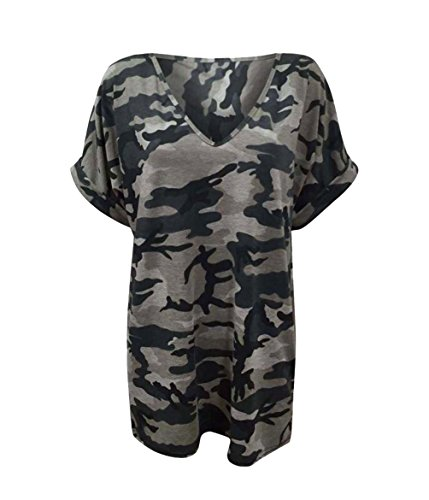 Fashion 4 Less Damen Tunika T-Shirt Mehrfarbig Camouflage 44 Gr. 52, Camouflage (V-neck Sleeve Top Cap)
