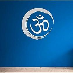Yoga. Símbolo hindú OM. Calidad inspirado vinilo adhesivo mate. 8colores y 2opciones de tamaño., Grey & White