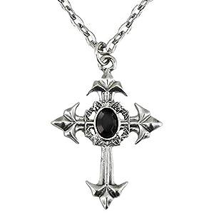 WIDMANN?Collar cruz gótico con Gemma Womens, Negro, talla única, vd-wdm7511r