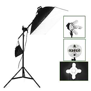 BPS Softbox Kit éclairage Boite Lumière Studio Photo 5x 38W 5500K Softbox 50x70cm rectangulaire assemblage automatique avec bras extensible et 2m Softbox Monture Universelle pour Photo Video Studio, complément accessoire équipement photographique
