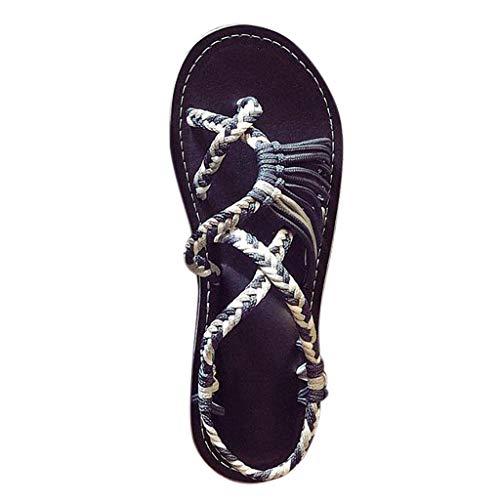 SommerMode Frau Hanfseil Flip Flops SandalenFlach überqueren Farbabstimmung SandalenTanga römisch Strand Schuhe Hausschuhe (Stiefel Für Cowgirl Hochzeit Die)
