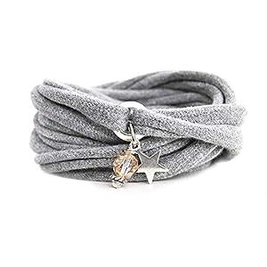 Armband Wickelarmband aus Stoff weich hellgrau oder in Wunschfarbe mit Anhänger Stern und Perle