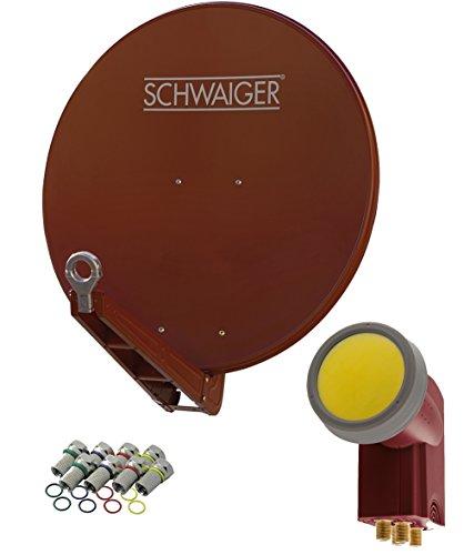 SCHWAIGER -4647- Sat Anlage, Satellitenschüssel mit Quad LNB (Digital) & 8 F-Steckern 7 mm, Sat Antenne aus Aluminium, Ziegelrot, 75 x 80 cm
