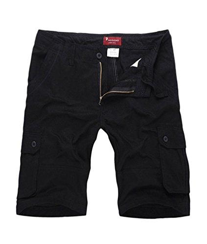 NiSeng Uomo Estate Pantaloni corti Vintage Shorts - Bermuda Cargo short con tasconi laterali Nero