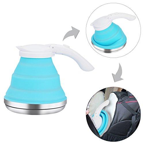 LOUTY Blue 1.5L Silikon zusammenklappbare Wasserkocher Faltbare Tragbare Teekanne für...