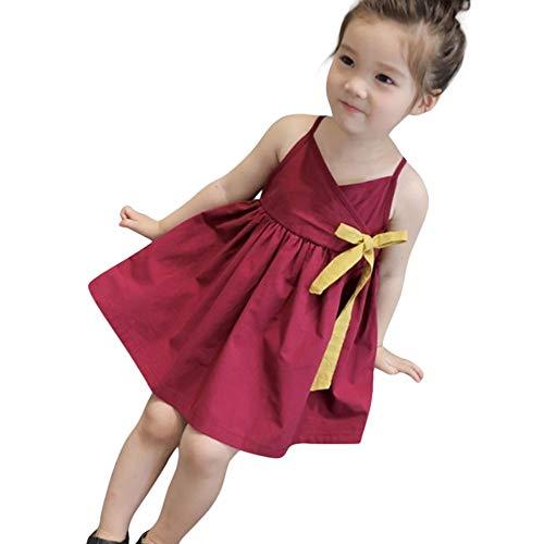 JUTOO Kleinkind Mädchen Sommer Einfarbig Bowknot Prinzessin Kinder Baby Party Hochzeit Ärmelloses Kleid ()