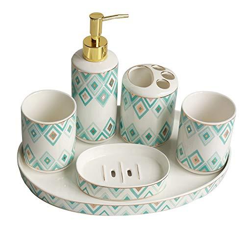 WHSGBB Modernes Design 6 Badezimmer Zubehör-Sets, Lotion-Flaschen, Zahnbürste Schachteln, Becher, Seifen Kästen Und Einlagen (Color : I, Size : 6-Piece-Set)