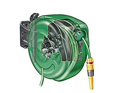 Hozelock Auto Rewind 40 m Hose Reel with Connectors and Fittings - Colour May Vary