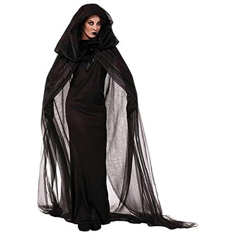 GWELL Damen Halloween Kostüm für Erwachsene Schwarz Lang Geist Halloween Kostüm mit Hut Horror Cosplay Hexenkostüm