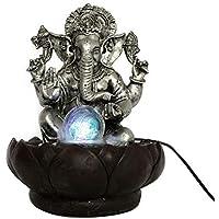 Fuente Ganesh Base Flor de Loto con Bola Cristal Giratoria y Luz LED Bicolores