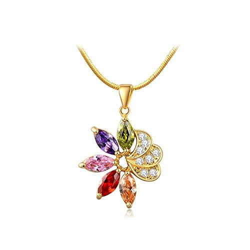 Onefeart Vergoldet Anhänger Halskette Für Frauen Mädchen Bunt Zirkonia Krug Halskette 28Mmx20MM (Krug Bunte)