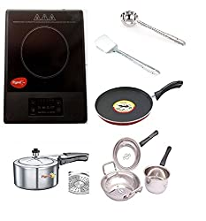 Pigeon Amber Induction Cooktop 1500 W (Black, Touch Panel) + Pigeon Nonstick Induction Base Tawa +Pigeon 3 Ltr. Storm Induction Base Pressure Cooker +5 Pcs Stainless Steel cookware Set