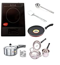 Pigeon Amber Induction Cooktop 1500 W (Black,) + Pigeon Nonstick Induction Base Tawa +Pigeon 3 Ltr. Storm Induction Base Pressure Cooker +5 Pcs Stainless Steel cookware Set