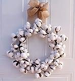 YOUNICER 14 Pulgadas Corona de Navidad Vintage casa de Campo Corona de algodón esponjosa Blanca Completa decoración de la Puerta de Entrada del hogar