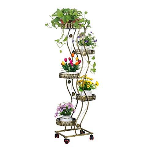 Modern Metall Eisen Blume Regal Beweglich, 5 Schichten Innen Draussen Eisen Rahmen mit Räder Pflanze Blumen Racks Stand Anzeige Steht Schwarz Bronze Farbe zum Wohnzimmer Büro - Bronze-wohnzimmer