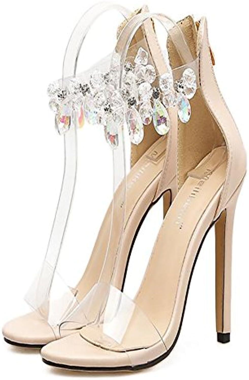 GAOLIXIA Zapatos de tacón alto para mujeres Primavera Verano Nuevo Super-pretty Rhinestone grande Zapatos de tacón...