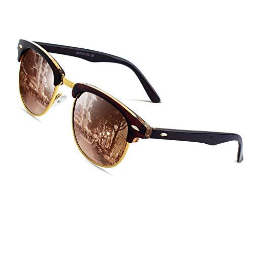 CGID MJ56 Lunettes de soleil Demi-cerclées écailles Demi Monture Inspirées Premium avec Rivets Métalliques pour Femme Homme UV400