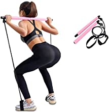 Kaufam Pilates Stick Bar Kit with Resistance Band Yoga Exercise Bar Portable Pilates Stick with Foot Loop for Yoga, Stretch, Sculpt, Twisting, Sit-Up for Home and Gym Bodybuilding Workout