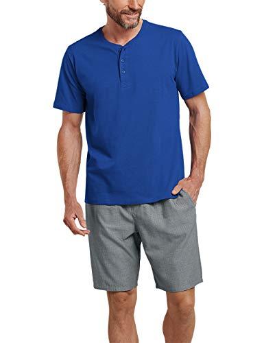 Schiesser Herren Mix & Relax T-Shirt Knopfleiste Schlafanzugoberteil, Blau (Royal 819), X-Large (Herstellergröße: 054)