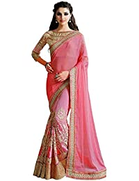 Active Feel Free Life Women's Net Saree With Blouse Piece (Savi2159-Ta,Pink,Free Size)