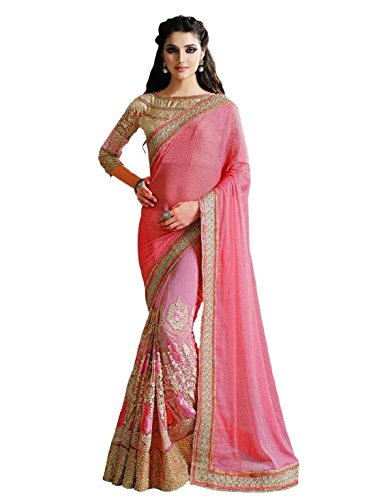 Active Women\'s Lycra and Net Embroidery Saree (Free Size_Peach)