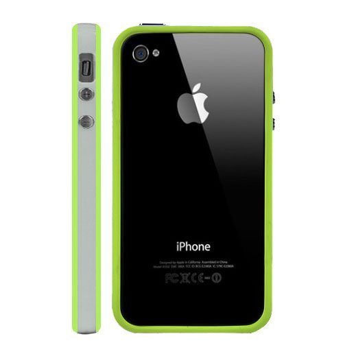 G4GADGET® Iphone 4S/4 Silicon Bumper White/Green