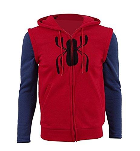 Herren Spinne Hoodie Spider Kapuzenjacke Cosplay Kostüm (Rot, -